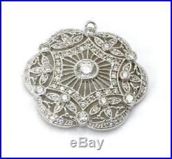 Vintage Large Cubic Zirconia Necklace Pendant Art Nouveau Style Sterling Silver