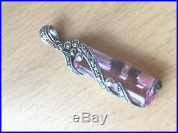 Vintage Large Pink Ice Pink Cz Cubic Zirconia Marcasite Pendant Sterling Silver