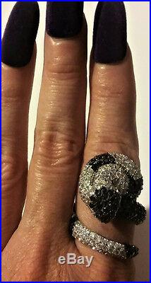 Vintage Silver Snake Ring Pave Black Onyx Cubic Zirconia Fine Jewelry HUGE 925