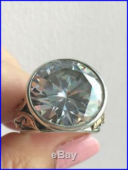 Vintage Sterling Silver 14k Yellow Gold Huge Round Cz Cubic Zirconia Ring Israel