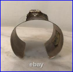 Vintage Sterling Silver CZ Cubic Zirconia Wide Cuff Bracelet Modernist