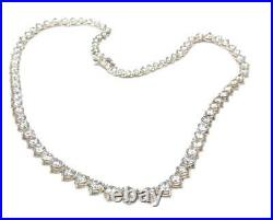 Vintage Sterling Silver & Cubic Zirconia Graduated Necklace Weddings Bridal