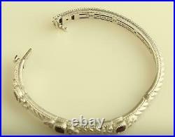 Vintage Sterling Silver Judith Ripka Cubic Zirconia Garnet Hinged Bangle