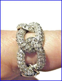 Vintage Sterling Silver Ring Chain Link Pave Fiery Cubic Zirconia Gift Gorgeous
