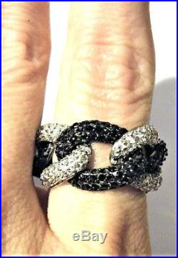Vintage Sterling Silver Ring Onyx Black Chain Link Pave Cubic Zirconia Gift Wow