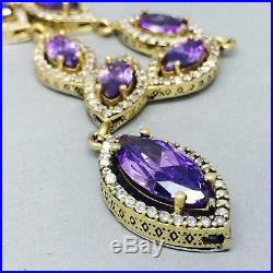 Vintage Style 925 Silver Amethyst & Cubic Zircon Ladies Cocktail Set 599