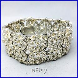 Vintage Style 925 Sterling Silver Cubic Zircon Ornate Cuff Bracelet B1