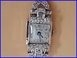 Vintage Womens Ciro Cubic Zirconium Baguette setting Sterling Silver Watch