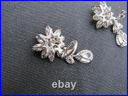 Vtg. FANTASIA by DESERIO Sterling Cubic Zirconia Cluster Earrings withDrops & Box