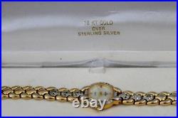 Vtg Sterling Silver Elgin Ladies18kt Gold Over Cubic Zirconia Quartz Watch