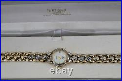 Vtg Sterling Silver Elgin Ladies18kt Gold Over Cubic Zirconia Quartz Watch