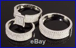 Wedding Engagement Trio Ring & Band Set in Sterling Silver 925 & Cubic Zirconia
