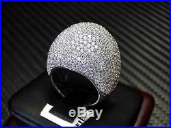 White Color C. Z Ring Sterling Silver Rhodium Cubic Zirconia Round Cut Pave Set