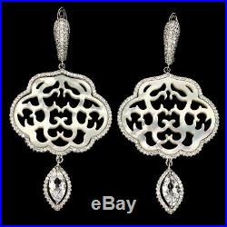 White Mother Of Pearl Cubic Zirconia 925 Sterling Silver Earrings