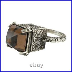 William Griffiths Sterling Silver Cognac Cubic Zirconia Locking Poison Ring