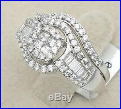 Women Ladies Solid 925 Sterling Silver 14K Finish Solitaire Cubic CZ Bridal Ring