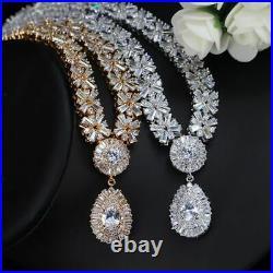 Women Necklace Earring Bracelet Bridal Jewelry Sets Cubic Zirconia Stone Copper
