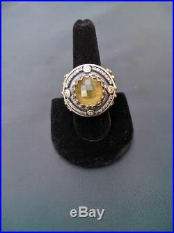 Women Vintage Style Sterling Silver Citrine, Cubic Zirconia Cocktail Ring Size 8