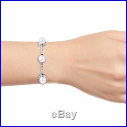 Women's 925 Sterling Silver White Cubic Zircon CZ Pearl Bolo Tennis Bracelet