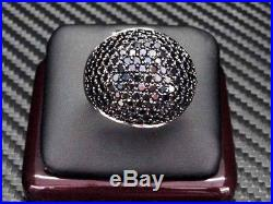 Womens Black C. Z Ring Sterling Silver Pave Set Cubic