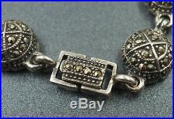Womens Bracelet Blcak Onyx Cubic Zirconia & Marcasites Sterling Silver VINTAGE