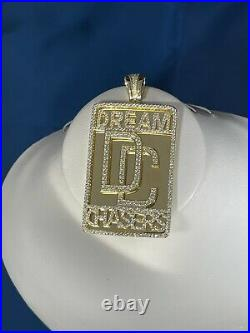 Yellow Finish Dream Chasers 925 Sterling Silver Pendant Cubic Zirconia Stones