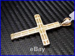 Yellow Sterling Silver 925 Fancy White C. Z Cubics Zirconia Cross Pendant Charm