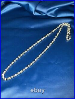 Yellow&White CZ Style Sterling Silver Unique Chain Gents Full Cubic Zirconia