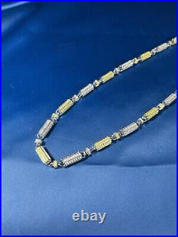 Yellow&White Cubic Style 925 Sterling Silver Gents Chain Full CZ Stones