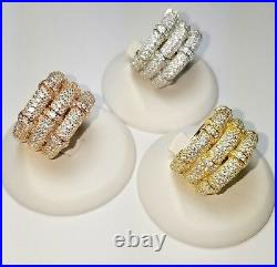 ZirconZ Custom-Pave Signty CZ Sterling Silver 3Row Bamboo Band Ring-Cubic Zircon