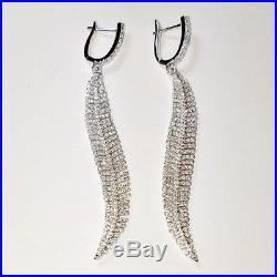 ZirconZ Custom-Pave Signty Cubic CZ Sterling Silver Feather Hoop Earrings-72mm